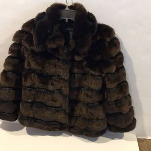 International concepts faux fur brown with black S